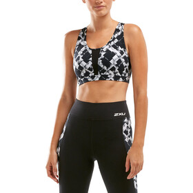2XU Perform Medium Impact Crop Top Women textured check black/silver